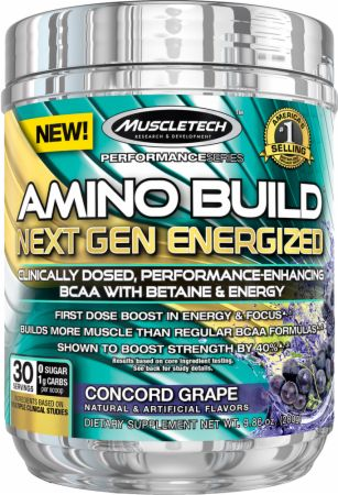 Image of MuscleTech Amino Build Next Gen 30 Servings - Energized w/ Caffeine Concord Grape