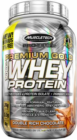 MuscleTech Pro Series Premium Gold 100% Whey Protein Double Rich Chocolate 2.2 Lbs. - Protein Powder