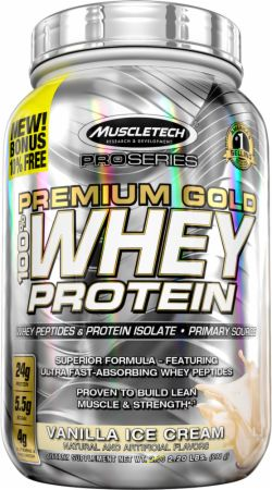 MuscleTech Pro Series Premium Gold 100% Whey Protein Vanilla Ice Cream 2.2 Lbs. - Protein Powder