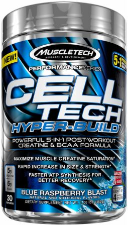 Image of Cell Tech Hyper-Build Blue Raspberry Blast 30 Servings - Post-Workout Recovery MuscleTech