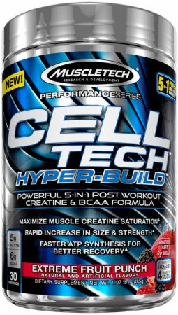 Image of Cell Tech Hyper-Build Extreme Fruit Punch 30 Servings - Post-Workout Recovery MuscleTech