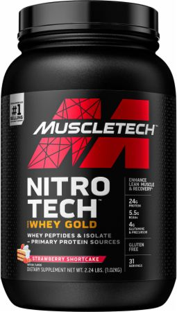 MuscleTech NITRO-TECH 100% Whey Gold Strawberry 2.2 Lbs. - Protein Powder