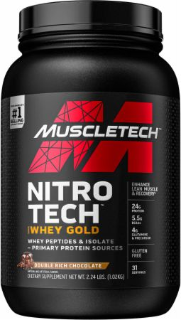 MuscleTech NITRO-TECH 100% Whey Gold Double Rich Chocolate 2.2 Lbs. - Protein Powder