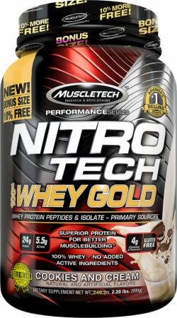 MuscleTech NITRO-TECH 100% Whey Gold Cookies and Cream 2.2 Lbs. - Protein Powder