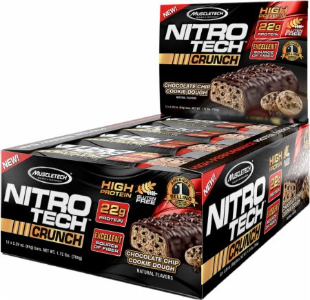 MuscleTech NITRO-TECH Crunch Bar Chocolate Chip Cookie Dough 12 x 65g Bars - Protein Bars