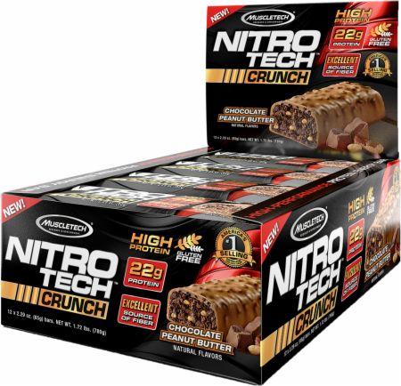 MuscleTech NITRO-TECH Crunch Bar Chocolate Peanut Butter 12 x 65g Bars - Protein Bars
