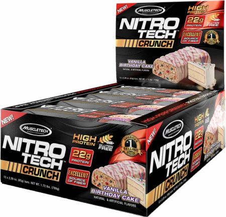 MuscleTech NITRO-TECH Crunch Bar Birthday Cake 12 x 65g Bars - Protein Bars