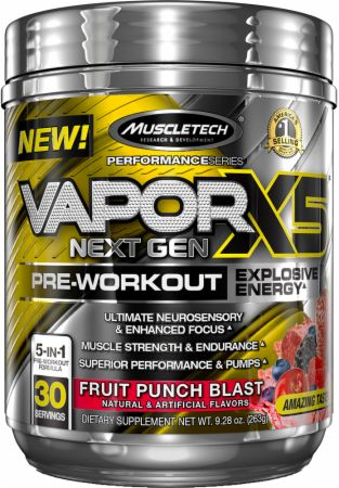 Vapor X5 Next Gen Pre-Workout Fruit Punch Blast 30 Servings - Pre-Workout Supplements MuscleTech
