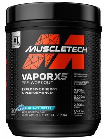 Vapor X5 Next Gen Pre-Workout Blue Raspberry Fusion 30 Servings - Pre-Workout Supplements MuscleTech