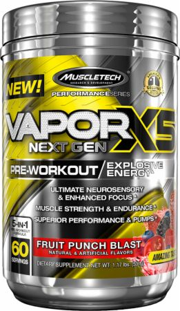Vapor X5 Next Gen Pre-Workout Fruit Punch Blast 60 Servings - Pre-Workout Supplements MuscleTech