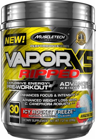 Vapor X5 Ripped Icy Rocket Freeze 30 Servings - Pre-Workout Supplements MuscleTech