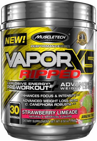 Vapor X5 Ripped Strawberry Limeade 30 Servings - Pre-Workout Supplements MuscleTech