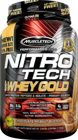MuscleTech NITRO-TECH 100% Whey Gold Chocolate Peanut Butter 2.2 Lbs. - Protein Powder