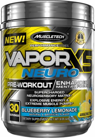 Vapor X5 Neuro Blueberry Lemonade 30 Servings - Pre-Workout Supplements MuscleTech