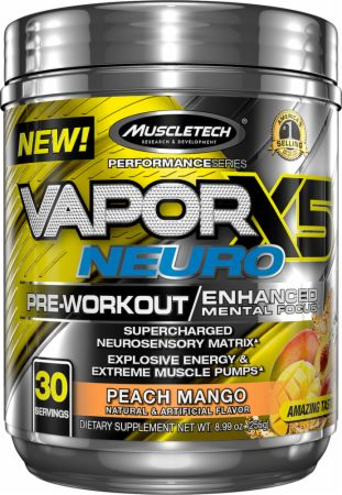 MuscleTech Vapor X5 Neuro Peach Mango 30 Servings - Pre-Workout Supplements