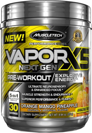 Vapor X5 Next Gen Pre-Workout Orange Mango Pineapple 30 Servings - Pre-Workout Supplements MuscleTech