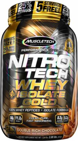 MuscleTech NITRO-TECH Whey Plus Isolate Gold Double Rich Chocolate 2 Lbs. - Protein Powder