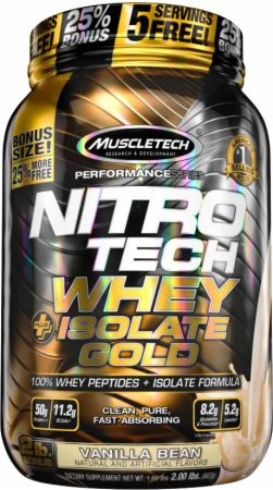MuscleTech NITRO-TECH Whey Plus Isolate Gold Vanilla Bean 2 Lbs. - Protein Powder