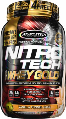 MuscleTech NITRO-TECH 100% Whey Gold Vanilla Funnel Cake 2.2 Lbs. - Protein Powder