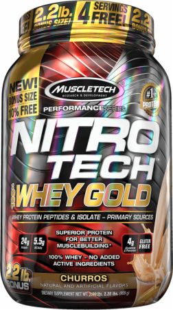 MuscleTech NITRO-TECH 100% Whey Gold Churros 2.2 Lbs. - Protein Powder