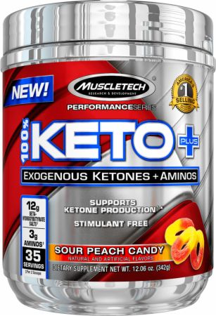 100% Keto Plus Sour Peach Candy 35 Servings - Stimulant Free Pre-Workout MuscleTech