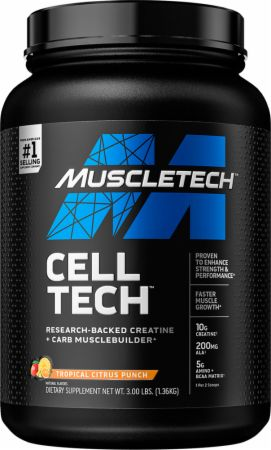 Image of Cell-Tech Creatine + Carbs Tropical Citrus Punch 3 Lbs. - Post-Workout Recovery MuscleTech