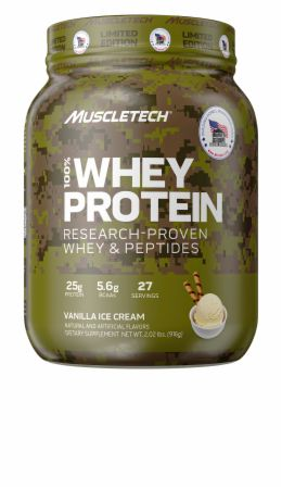 Image of Homes For Our Troops 100% Whey Protein Vanilla Ice Cream 2 Lbs. - Protein Powder MuscleTech