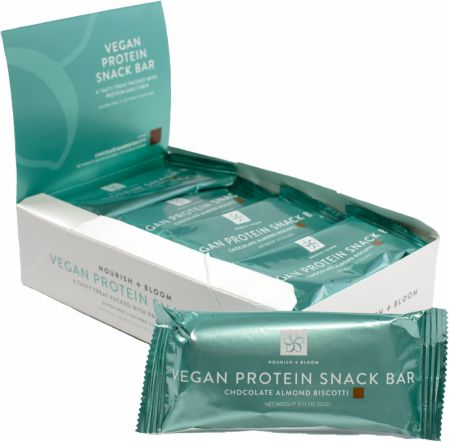 Nourish & Bloom Vegan Protein Snack Bars Cherry Quinoa Crunch 12 - 60g Bars - Protein Bars