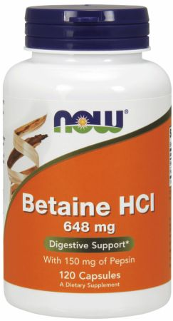 Image of Betaine HCI 120 Capsules - Digestive Health NOW