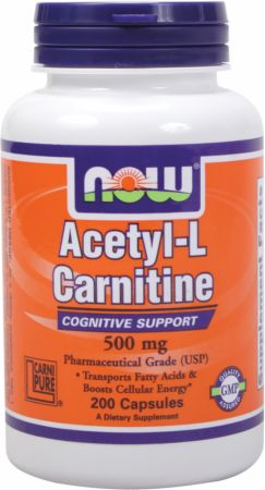 Image of NOW Acetyl-L-Carnitine 500mg/200 Capsules