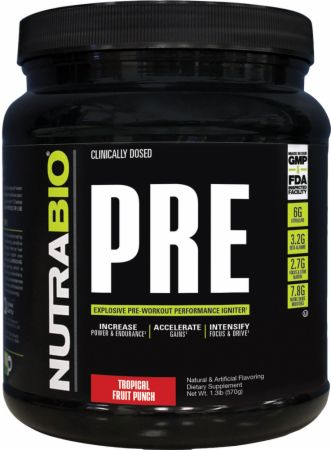 PRE Tropical Fruit Punch 20 Servings - Pre-Workout Supplements NutraBio
