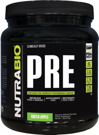 PRE Green Apple 20 Servings - Pre-Workout Supplements NutraBio