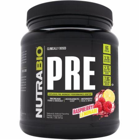 PRE Raspberry Lemonade 20 Servings - Pre-Workout Supplements NutraBio