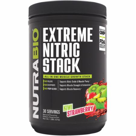 Image of Extreme Nitric Stack Kiwi Strawberry 30 Servings - Nitric Oxide Boosters NutraBio