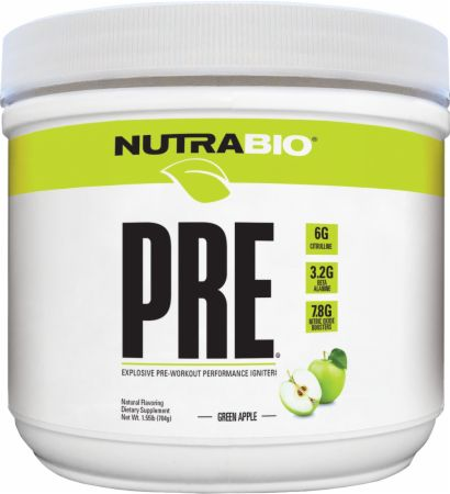PRE Natural Green Apple 20 Servings - Pre-Workout Supplements NutraBio