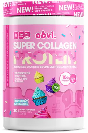 Image of Super Collagen Protein Birthday Cupcakes 30 Servings - Joint Support Obvi