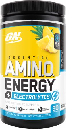 Essential AmiN.O. Energy + Electrolytes Pineapple Twist 30 Servings - Amino Acids & BCAAs Optimum Nutrition