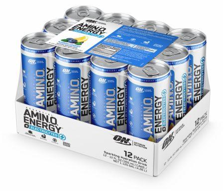 Image of AmiN.O. Energy + Electrolytes Sparkling Hydration Drink Blueberry Lemonade 12 - 12 Fl. Oz. Cans - Amino Acids & BCAAs Optimum Nutrition