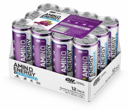 Image of AmiN.O. Energy + Electrolytes Sparkling Hydration Drink Grape 12 - 12 Fl. Oz. Cans - Amino Acids & BCAAs Optimum Nutrition