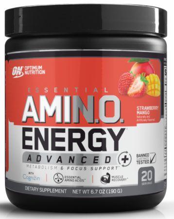 Image of AmiN.O. Energy Advanced+ Strawberry Mango 20 Servings - Amino Acids & BCAAs Optimum Nutrition