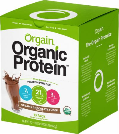 Image of Organic Plant Protein Powder Creamy Chocolate Fudge 10 Packets - Protein Powder Orgain