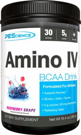 Image of Amino IV Raspberry Grape 30 Servings - Post-Workout Recovery PEScience
