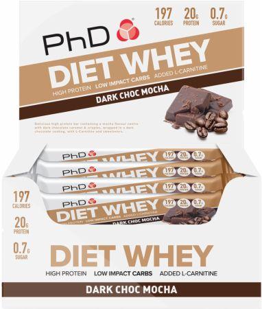 Image of Diet Whey Bar Dark Choc Mocha 12 - 65g Bars - Protein Bars PhD