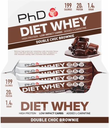 Image of Diet Whey Bar Double Choc Brownie 12 - 65g Bars - Protein Bars PhD