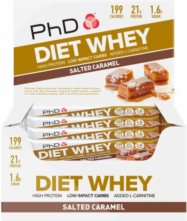 Image of Diet Whey Bar Salted Caramel 12 - 65g Bars - Protein Bars PhD
