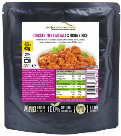 Image of Performance Meals High Protein Meal 350 Grams Chicken Tikka Masala & Brown Rice