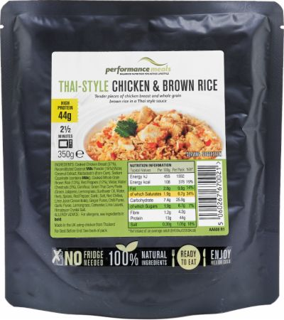Image of Performance Meals High Protein Meal 12 x 350g Meals Thai-Style Chicken & Brown Rice