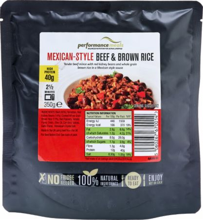 Image of Performance Meals High Protein Meal 12 x 350g Meals Mexican-Style Beef & Brown Rice