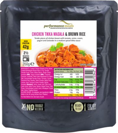Image of Performance Meals High Protein Meal 12 x 350g Meals Chicken Tikka Masala & Brown Rice