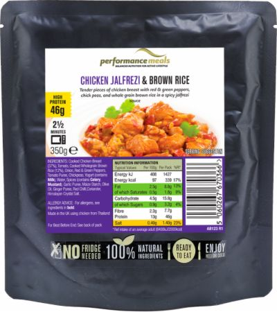 Image of Performance Meals High Protein Meal 12 x 350g Meals Chicken Jalfrezi & Brown Rice